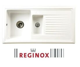 New in Box Reginox White Ceramic 1.5 Reversible Sink & Waste New-Graded