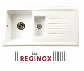 New Reginox White Ceramic 1.5 Reversible Kitchen Sink & Waste New