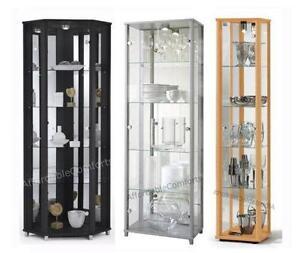 Black Corner Display Cabinet