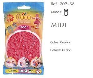 207-33-Hama-Beads-MIDI-1000x-Piezas-color-cereza-cerise-colour