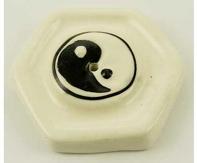 Pottery Incense Stick Holder With Ying Yang Design (T50)