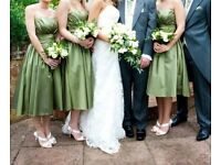 2 x Olive green knee length bridesmaid dresses, strapless, sizes 8-10