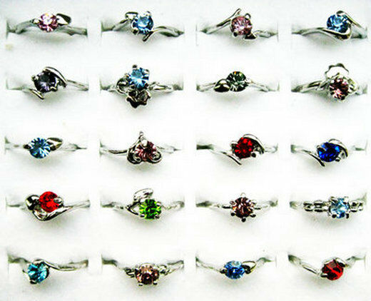 10Pcs Wholesale Lots Fashion Jewelry Crystal CZ Rhinestone Silver Plate Ring