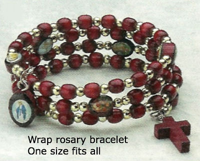 Wood Wrap Bracelet - Wrap Rosary Bracelet With Cherry Colored Wood - Made in the U.S.