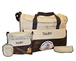 Todd Baby 5pc Bottle Food Bag Holder Set Diaper Nappy Changing Stylish Designed Strap Baby-Care Shoulder Bag (Brown)