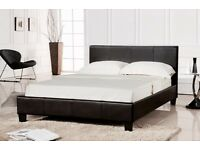 Brand New 4ft6 Double 5ft kingsize Prado Faux Leather Black Bed with or without Mattresses