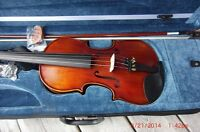 Hand-carved Violin, bow and case
