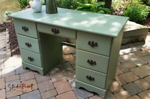 Painted Maple Six Drawer Green Desk and Matching Chair