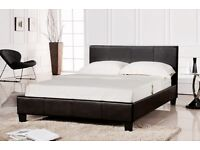 Brand New 4ft6 Double Prado Faux Leather Black Bed and choice of Mattress