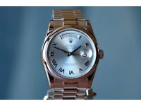 Rolex platinum Day-date, model 118206, beautiful condition, Ice blue dial,