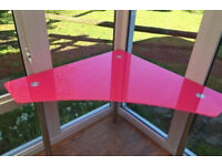 Pink glass and chrome corner table