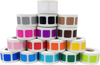 Square Shaped Stickers, 3/4 Inch Wide Labels, 500 on a Roll, 22 Color Choices (Colored Stickers)