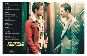 Fight Club Poster ~ Rules of Fight Club Poster ~ Brad Pitt Poster ~ 24x36