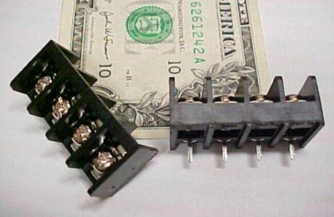 10 PCB Board Barrier Blocks Screw Terminal Strips 15A PCB Screw 4 Position Black