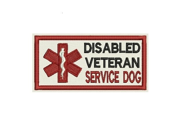 Disable Veteran Service Dog Patch Custom Embroidered tag, badge,