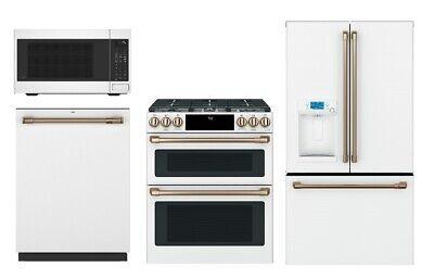 Cafe Matte White Kitchen Package - Refrigerator, Range, Microwave, Dishwasher
