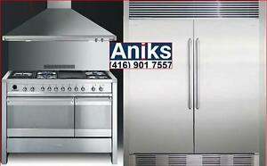 "Electrolux 64in Built-In side by side [32""Fridge, 32""Freezer Columns], Smeg A3XU6 48in Range and KD120XU 48in Wall Hood"