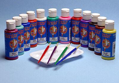 Face Paint Body Paint Kit Safe For Kids 12 Jars 2oz each 4 Brushes 1 Palette