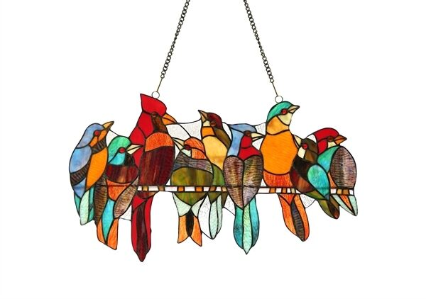 "Stained Glass Window Panel Suncatcher 21.5"" Long x 13"" High Birds On A Wire"