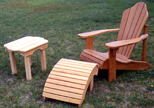 Blueprint Plan To Make Adirondack Chair, Footrest and Table for backyard or deck