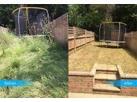 Gardener, grass and hedge cutter