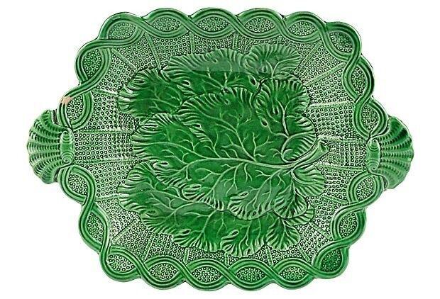 Antique Green Majolica Leaf Plate