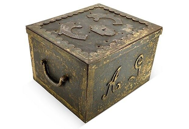 Antique Strongbox w/ Lion Heads Heavy