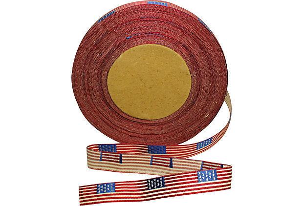 "Vintage  Antique Silk/Cotton GAR Flag Ribbon Military Medals Quilting 5/8"""