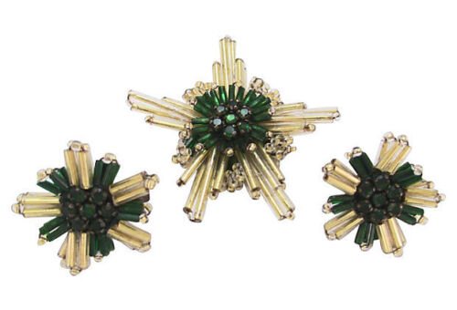 DECO STAR BROOCH PIN EARRINGS GOLD GREEN CHRISTMAS ORNAMENT GLASS Early 1900