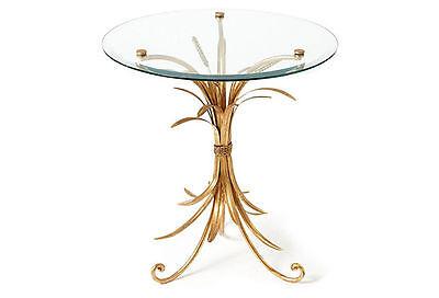Eisen-glas Beistelltisch (Gold Eisen & Glas Weizen Design Accent / Ende 22'' Durchmesser 24 H.)