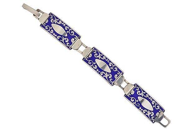 Antique Russian Enamel Sterling Bracelet