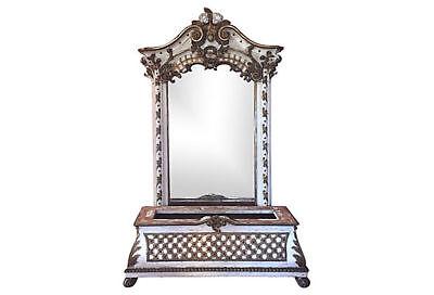 19c Ornate Italian Rococo Mirror Matching Bench