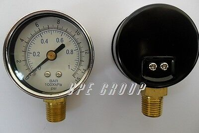 New Pressure Gauge Wog Air Compressor Hydraulic 2 Face 0-15 Lower Mnt 14 Npt