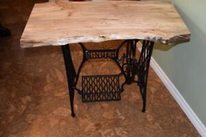 Beautiful Live Edge Table on Antique Singer Sewing Machine Base