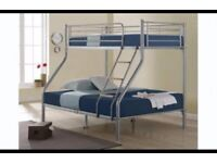 【STRONG QUALITY 】DOUBLE BOTTOM & SINGLE TOP TRIO METAL BUNK BED FRAME WITH MATTRESS OPTION