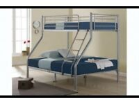 Silver metal finish ---- Brand New Double Trio Sleeper Metal Bunk Bed + Mattress is Optional