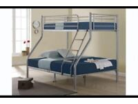 CHEAPEST PRICE GUARANTEED -- WOW OFFER - NEW TRIO SLEEPER METAL BUNK BED SAME DAY EXPRESS DELIVERY