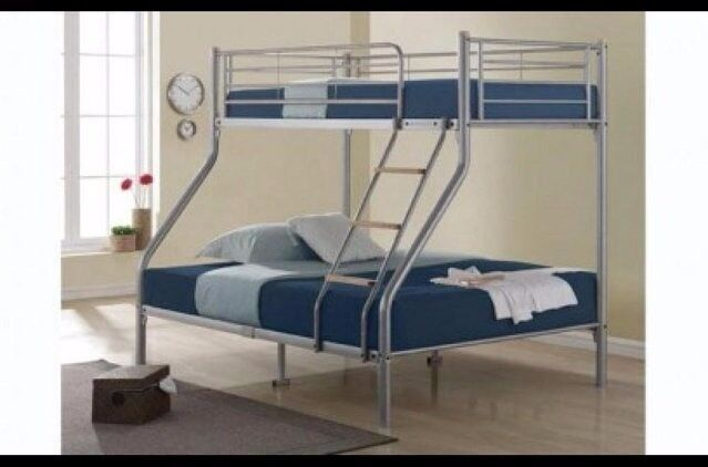 ❋❋ DOUBLE BOTTOM & SINGLE TOP ❋❋ STRONG QUALITY TRIO METAL BUNK BED FRAME WITH MATTRESS OPTION