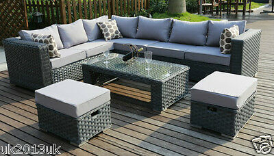 Conservatory MODULAR 9 Seater Rattan Corner Sofa Set Garden Furniture grey