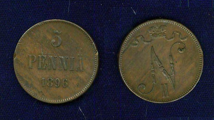 FINLAND (RUSSIA) NICHOLAS II   1896  5 PENNIA COPPER COIN  XF