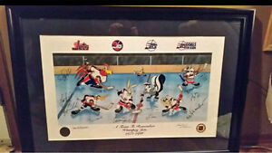 Winnipeg Jets Looney Tunes signed/framed print