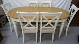 Cream and oak extending dining table & chairs * free furniture delivery *