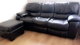 DFS Black Electric Recliner Leather Sofa with footstool - Almost new