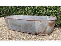 Vintage 50s Large 5ft Galvanised Bath Tub Garden Trough / Planter - Beautiful! -