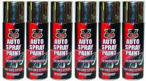 6 x CHROME Foil Mirror Metallic Effect Spray Paint Auto DIY Car Trendy