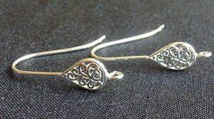 Sterling silver filigree teardrop hook earrings with open loop earwires findings