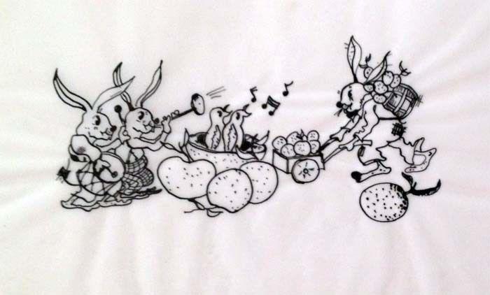 """Julian Ritter-Bunny - Ink on Vellum_8"""" x 11"""" Un-Signed -431"""