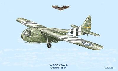 Waco CG-4A Glider World War 2 Aircraft Print US Army Air Corps for sale  Baltimore