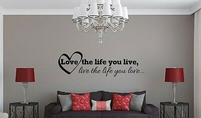 Home Decoration - LOVE THE LIFE YOU LIVE BOB MARLEY Insprational Quote Vinyl Wall Decal Sticker