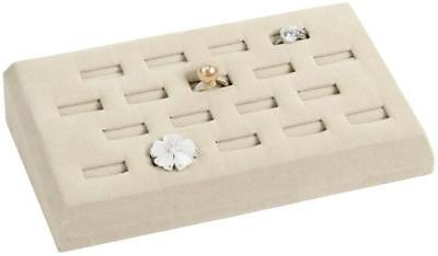 Beige Ring 18 Slot Tray Faux Suede Jewelry Store Pawn Shop Display